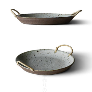 Serving bowl/plate with rope handle