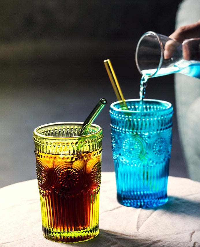 Cut glass highball glasses