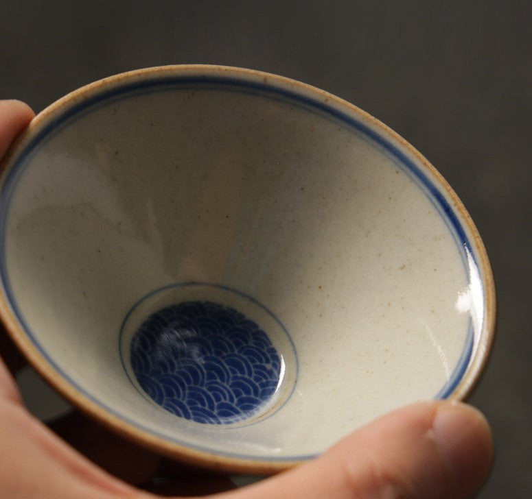 Ming Dynasty style teacup set of two - double fish