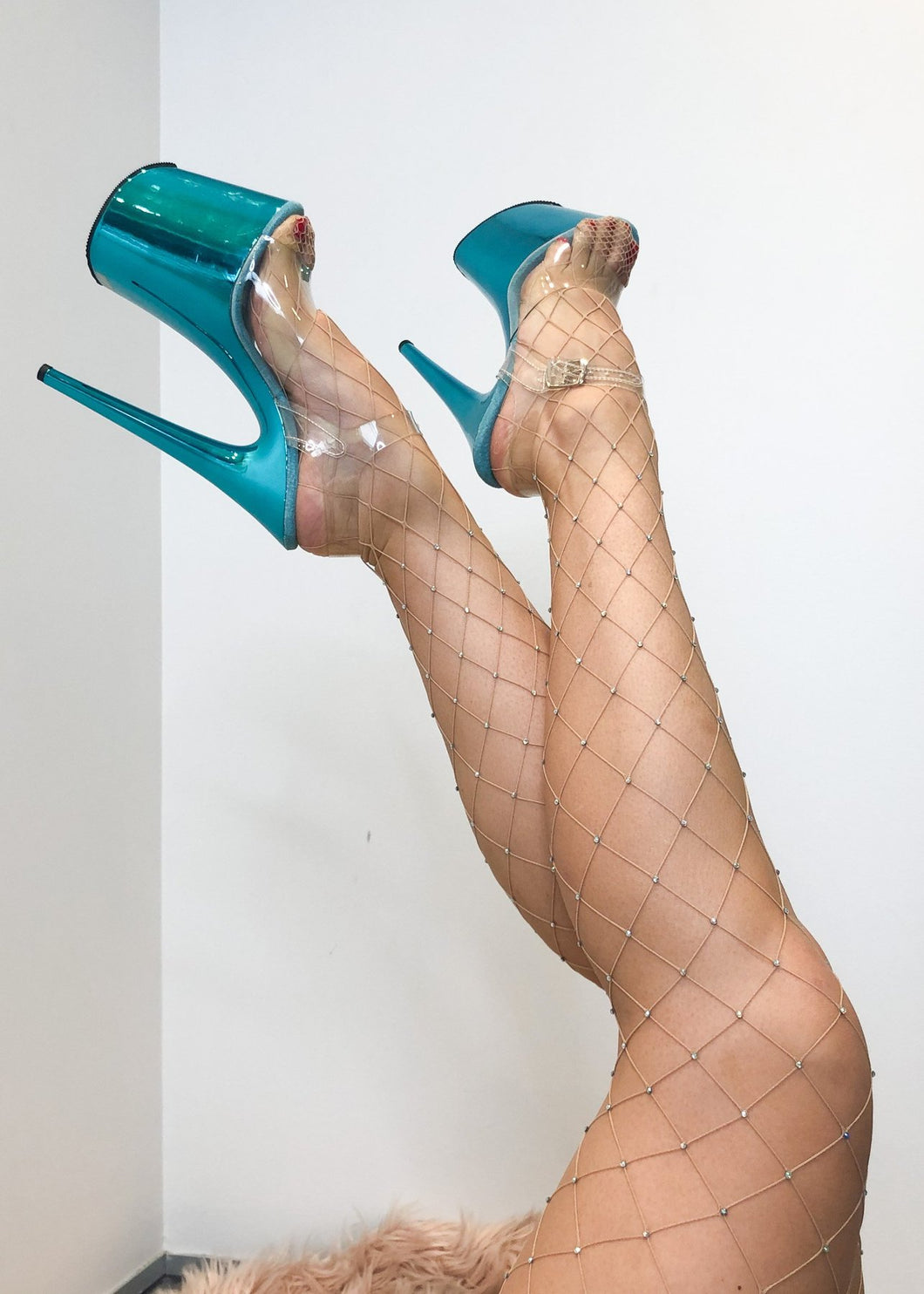 Lunalae Polewear - Fishnet Diamante Stocking in NUDE