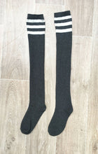 Load image into Gallery viewer, Lunalae Charcoal Thigh High Socks with White Stripe