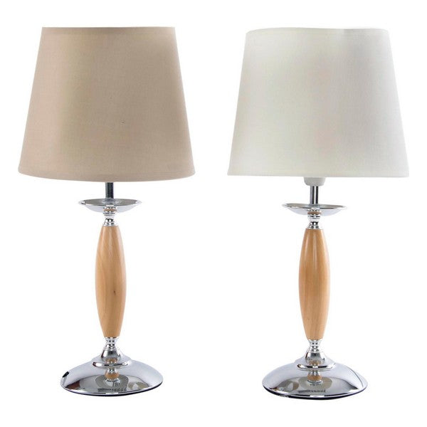 Desk Lamp Dekodonia Polyester Wood Metal Chic (2 pcs)