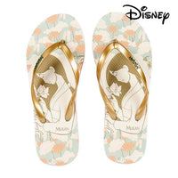 Women's Flip Flops Princesses Disney 74434 Beige Golden