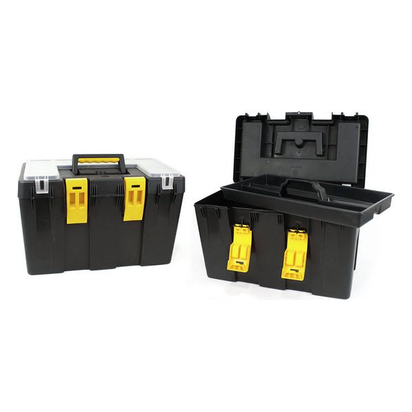 Toolbox with Compartments Bricotech Calgari Black Yellow (47 X 26 x 30 cm)