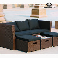 Sofa and Pouf Set (4 pcs) Rattan Brown Black