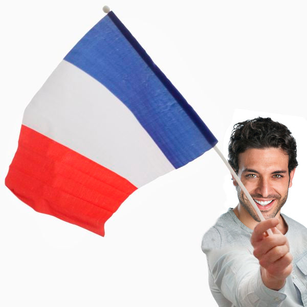 French Flag with Pole (46 x 30 cm)