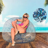 Inflatable Armchair with Blue Glitter