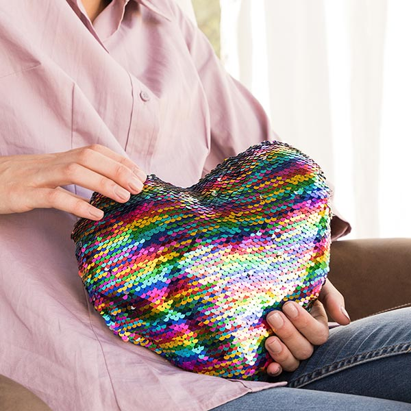 Rainbow Heart Magic Sequin Cushion