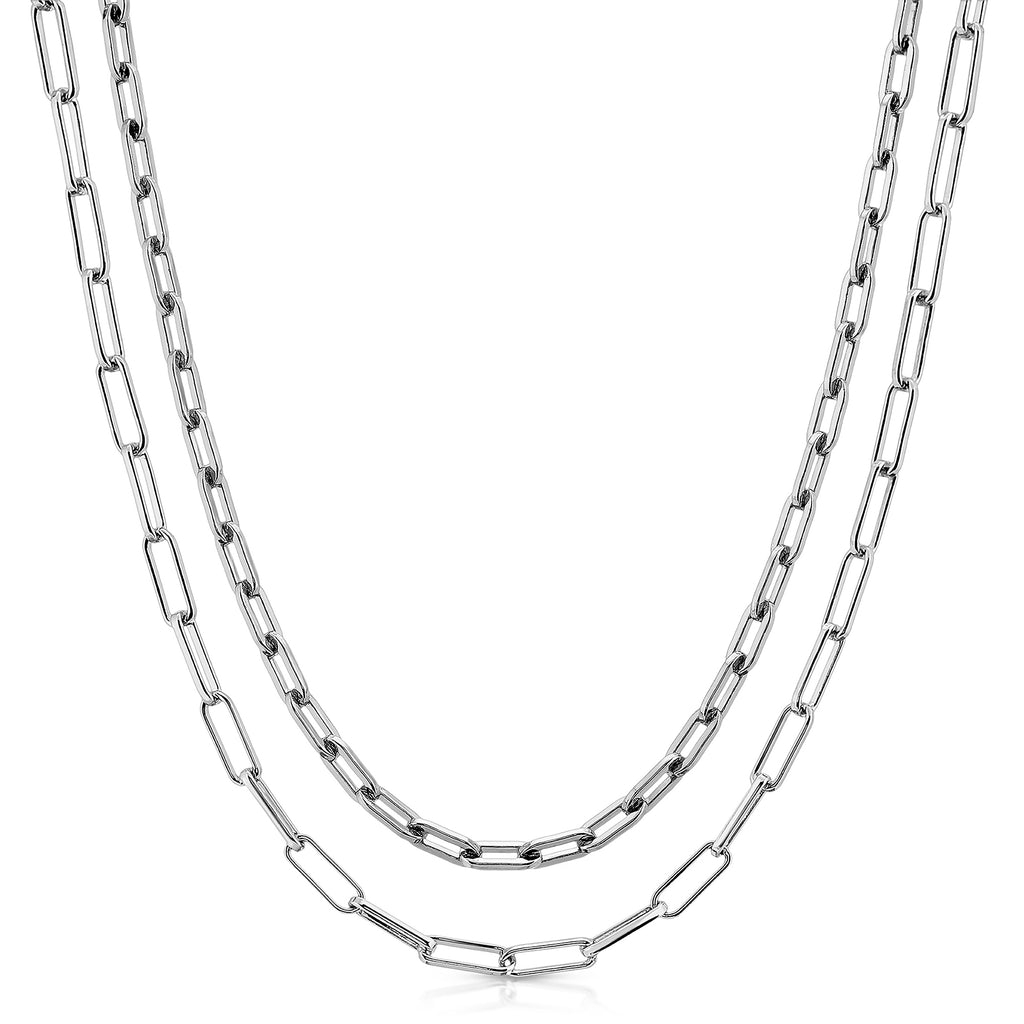 Double Medium & Elongated Link Chain Necklace