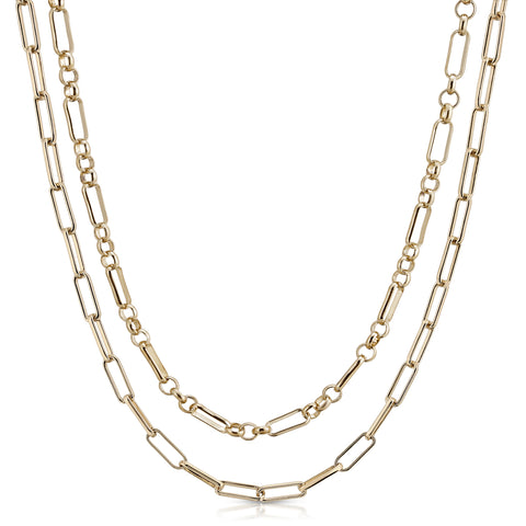 Double Small Multi Link & Elongated Link Chain Necklace