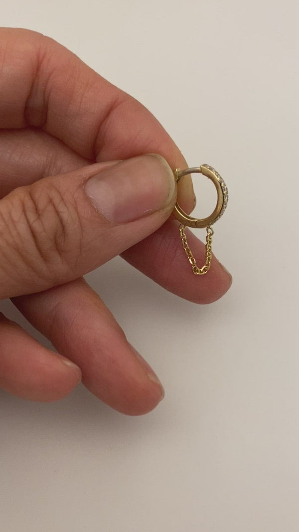 12.5MM DIAMOND AND WHITE 14K GOLD HUGGIES WITH CHAIN