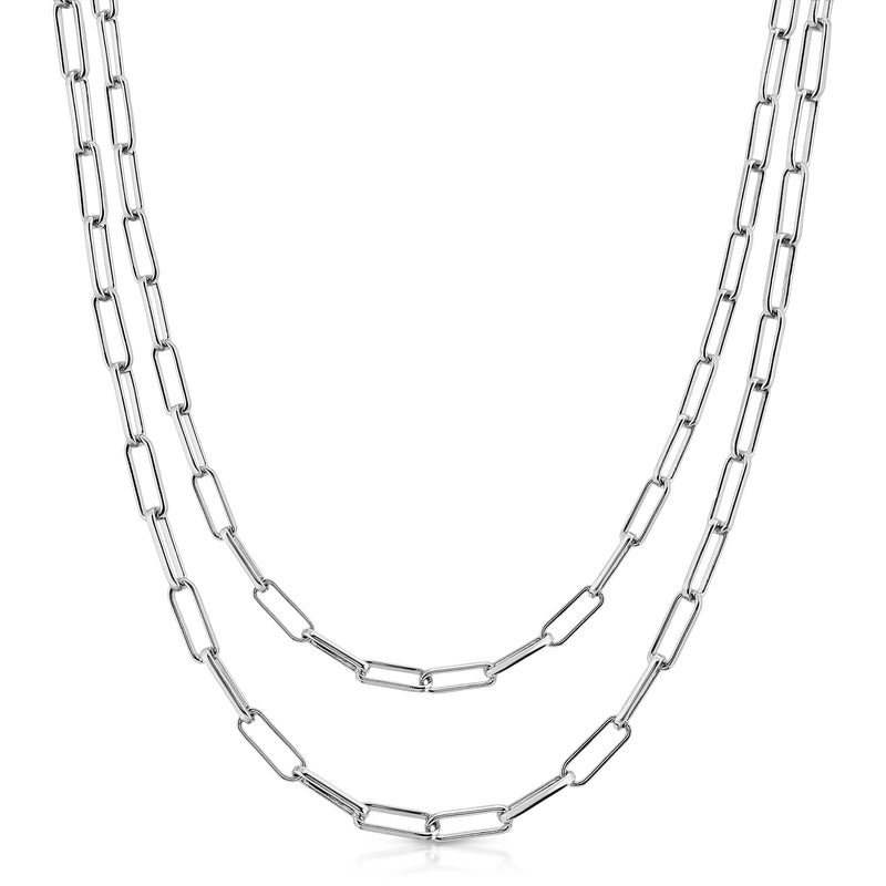 Silver Double Elongated Link Chain Necklace