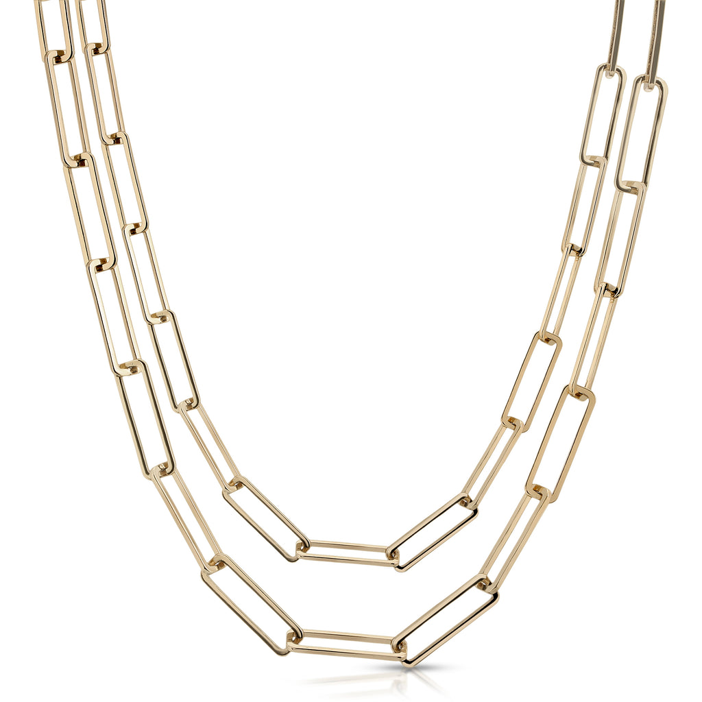 Double Large Rectangle Link Chain Necklace