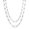 Silver Double Large Elongated Link Chain Necklace
