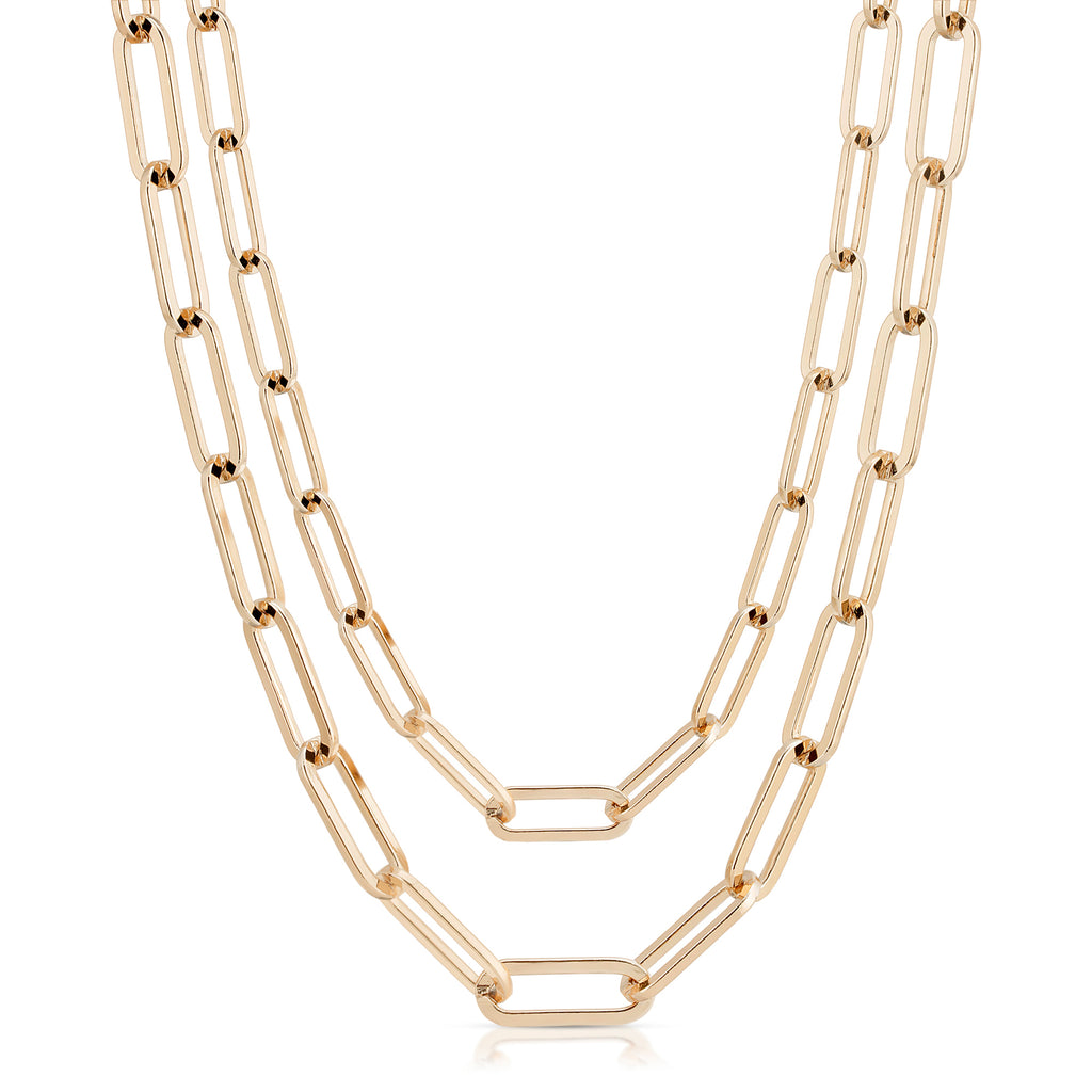Double Large Elongated Link Chain Necklace