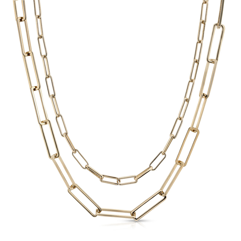 Double Elongated & Large Rectangle Link Chain Necklace
