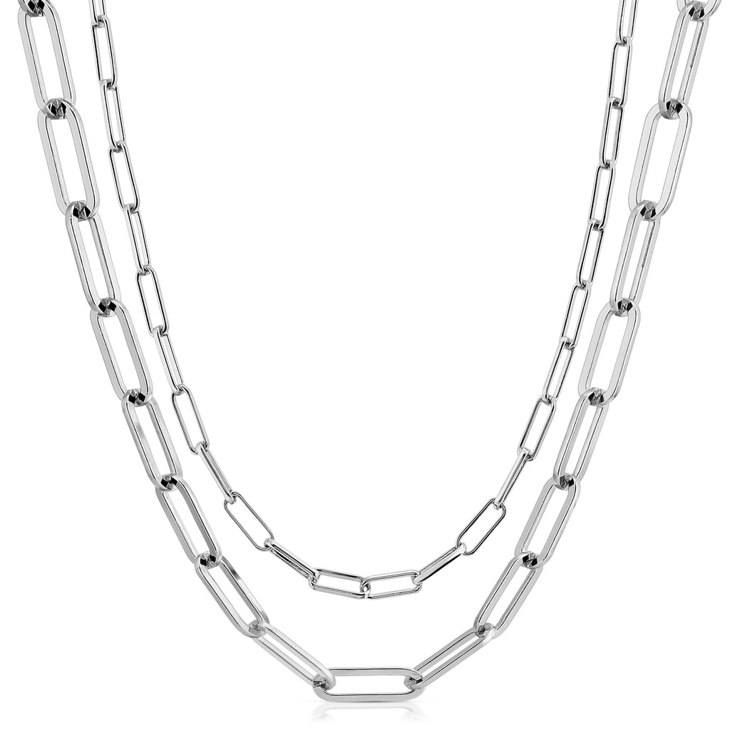 Silver Double Elongated & Large Elongated Link Chain Necklace