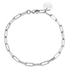 Silver Elongated Link Chain Anklet