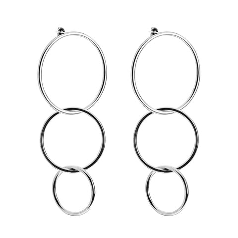Triple Interlinking Circle Drop Earrings