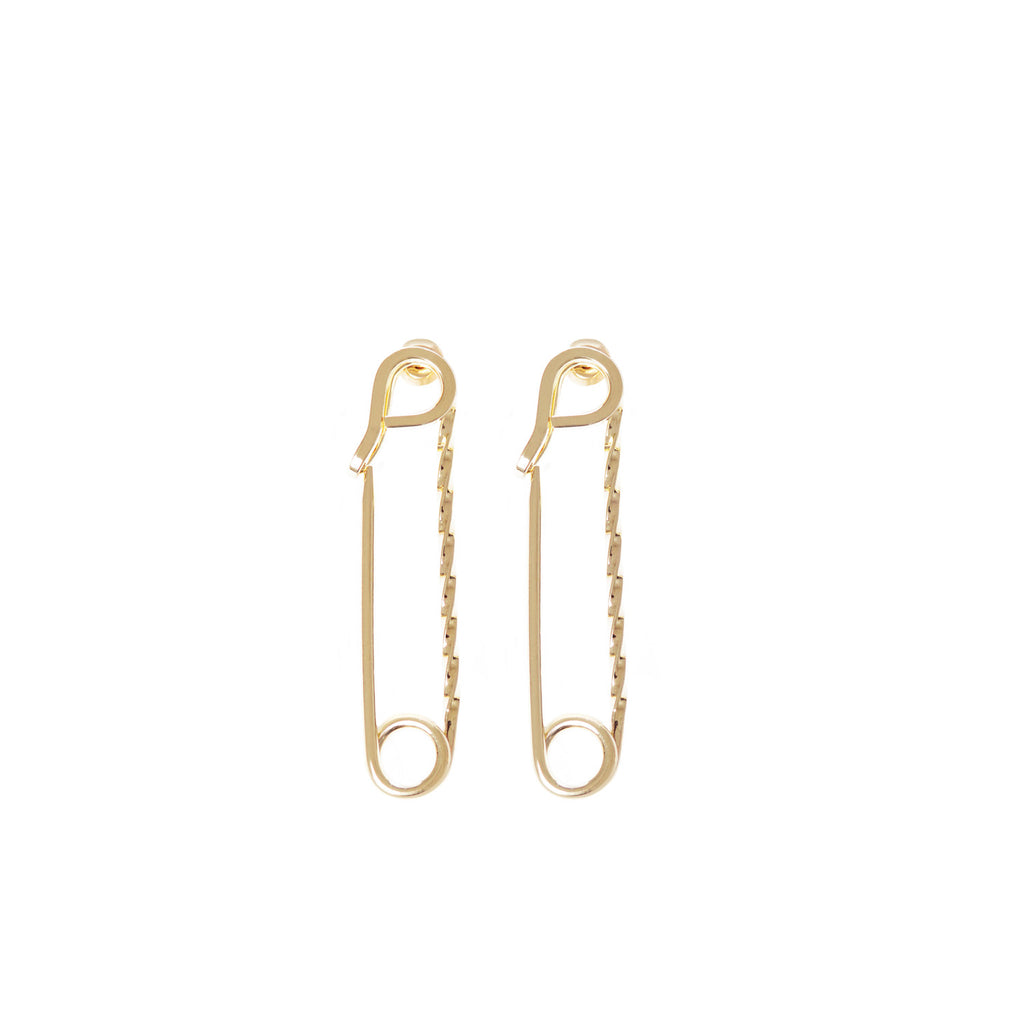 SMALL TWISTED SAFETY PIN EARRINGS