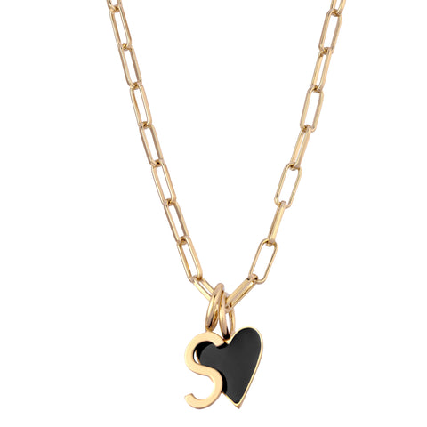 CARA BLACK ENAMEL CHARM NECKLACE