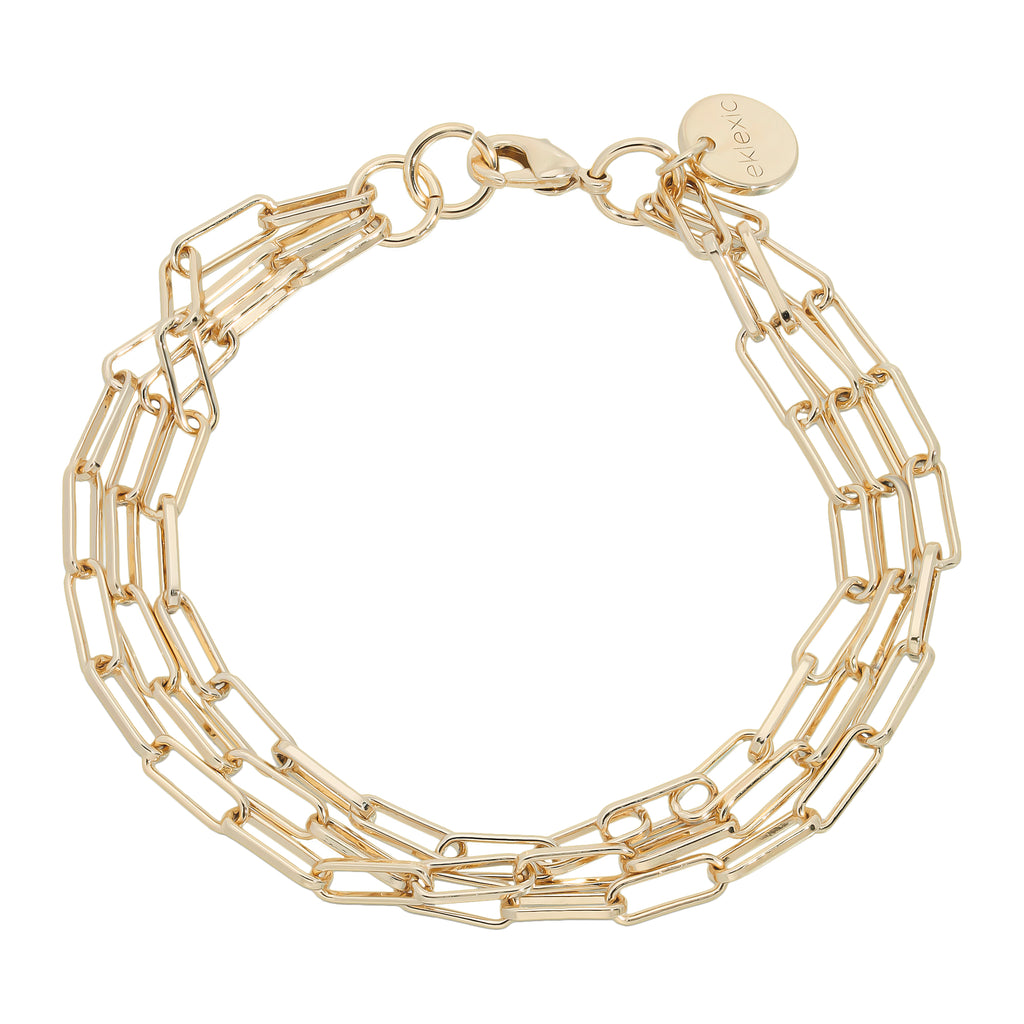 Triple Elongated Link Chain Bracelet