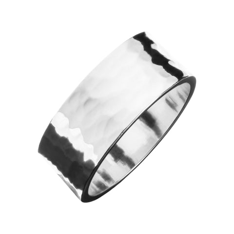 Men's 1/2 Hammered Cigar Band Ring