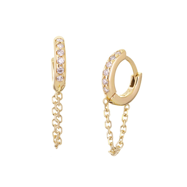 10MM DIAMOND AND 14K GOLD HUGGIES WITH CHAIN