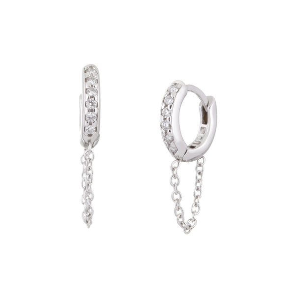 10MM DIAMOND AND 14K WHITE GOLD HUGGIES WITH CHAIN