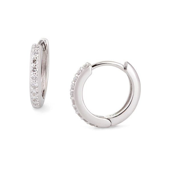 12.5MM DIAMOND AND 14K WHITE GOLD HUGGIES