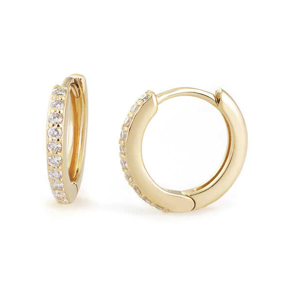 12.5MM DIAMOND AND 14K GOLD HUGGIES
