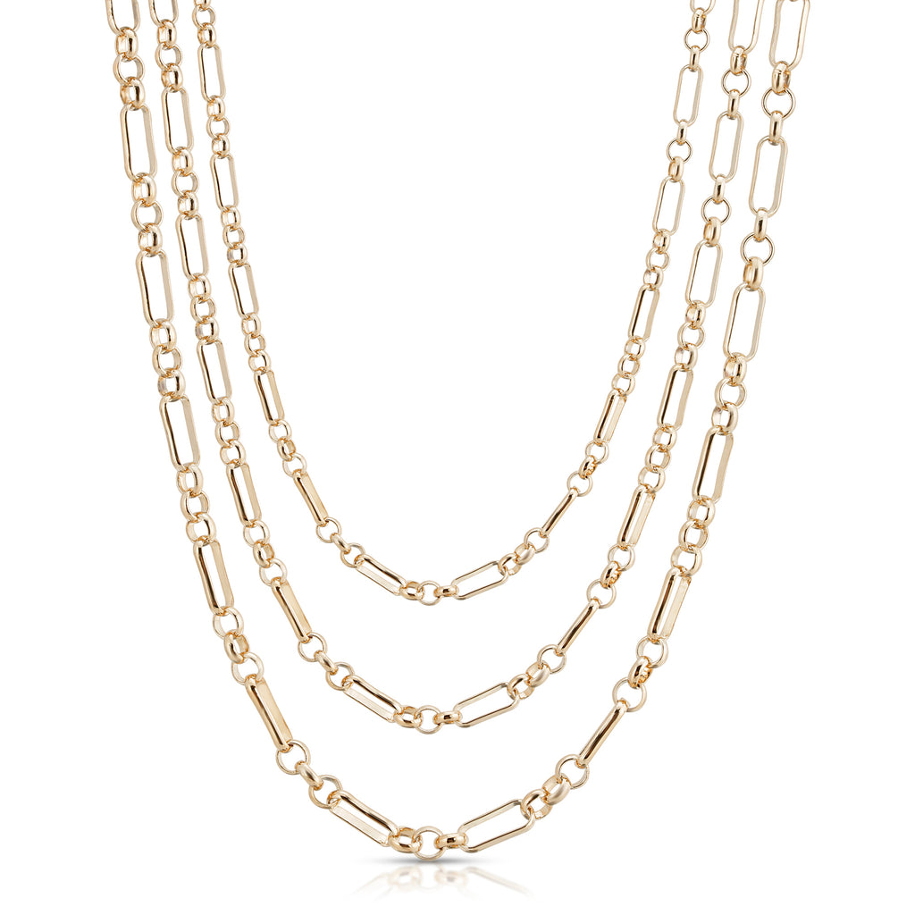 Triple Small Multi Link Chain Necklace