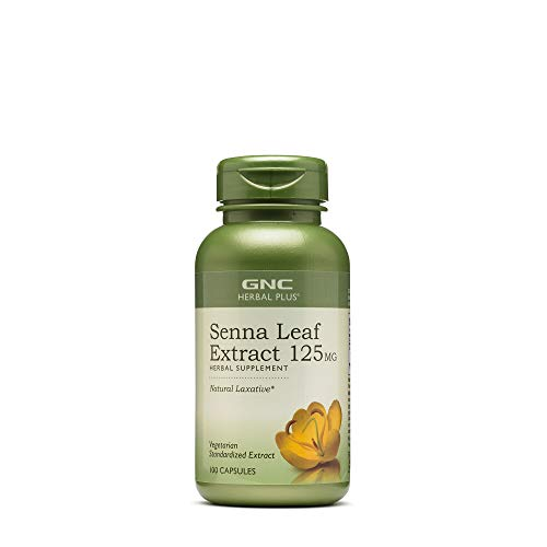 GNC Herbal Plus Senna Leaf Extract 125mg, 100 Capsules, A Natural Laxative