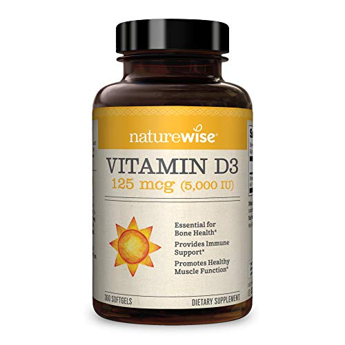 NatureWise Vitamin D3 5,000 IU (1 Year Supply) for Healthy Muscle Function, Bone Health, and Immune Support Non-GMO in Cold-Pressed Organic Olive Oil Gluten-Free (Packaging May Vary) [360 Count]