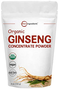 Maximum Strength Organic Ginseng Root 200:1 Powder, 4 Ounce, Panax Ginseng Powder Organic, Active Ginsenosides to Support Energy, Immune System, Mental Health & Physical Performance, Vegan Friendly