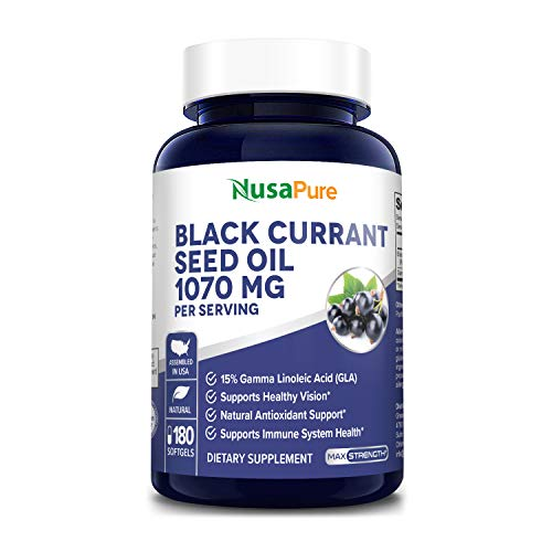 Black Currant Oil 1070mg gla 16% 180 Caps (Non-GMO & Gluten Free) Hexane Free – Natural Anti Aging Antioxidant with High GLA Formula – Supports Hair, Skin, Joint & Eye Health – Softgel Supplement