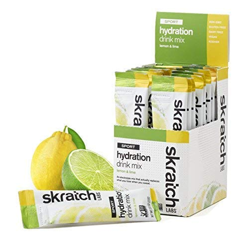 SKRATCH LABS Sport Hydration Drink Mix, Lemon Lime (20 single serving packets) - Natural, Electrolyte Powder Developed for Athletes and Sports Performance, Gluten Free, Vegan, Kosher
