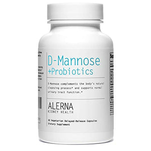 Alerna Kidney Health: D-Mannose (1000mg) + Probiotics with Organic Rose Hips and Organic Cranberry to Support Normal Urinary Tract Function - (1 Bottle)
