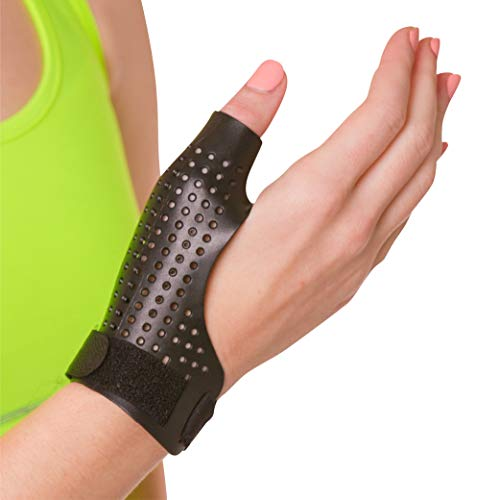 BraceAbility Hard Plastic Thumb Splint | Arthritis Treatment Brace to Immobilize & Stabilize CMC, Basal and MCP Joints for Trigger Thumb, Tendonitis Pain, Sprains (Medium - Left Hand)