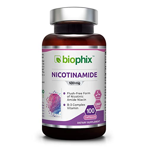 B3 Nicotinamide 500 mg 100 Capsules - Natural Flush-Free Vitamin Formula | Gluten-Free Nicotinic Amide Niacin | Skin Health and Healthy Cell Repair Support
