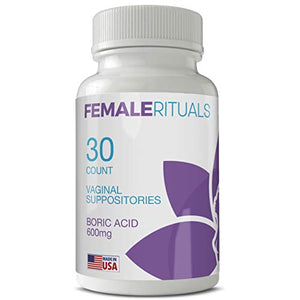 Female Rituals Boric Acid Suppositories 600 mg - Vaginal Pills for PH Balance Odors Yeast Infection Treatment - USA Made Feminine Hygiene Products - Vaginal Suppository Yoni Pops Pearls (30 Count)