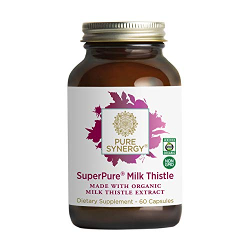 Pure Synergy USDA Organic SuperPure Milk Thistle Extract (60 Capsules) w/ Silymarin for Healthy Liver Function