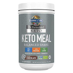 Garden of Life Dr. Formulated Keto Meal Balanced Shake - Chocolate Powder, 14 Servings, Truly Grass Fed Butter & Whey Protein Plus Probiotics, Non-GMO, Gluten Free, Ketogenic, Paleo Meal Replacement