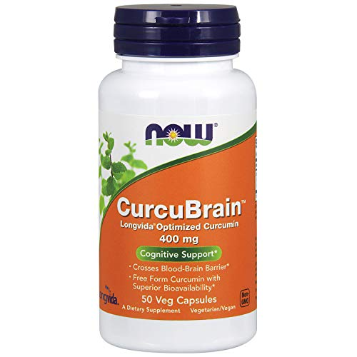 NOW Supplements, CurcuBrain 400 mg with Longvida Optimized Curcumin, 50 Veg Capsules