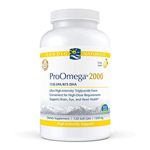 Nordic Naturals ProOmega 2000, Lemon Flavor - 2150 mg Omega-3-120 Soft Gels - Ultra High-Potency Fish Oil - EPA & DHA - Promotes Brain, Eye, Heart, Immune Health - Non-GMO - 60 Servings