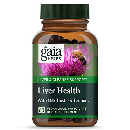 Gaia Herbs Liver Health Vegan Liquid Capsules, 60 Count - Daily Liver Detox Supplement, Antioxidant Source with Organic Milk Thistle, Turmeric (Curcumins), Licorice Root