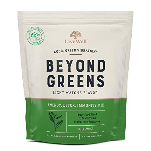Beyond Greens Concentrated Superfood Powder - Matcha Flavor w/Mushrooms, Probiotics, Echinacea for Immune System Boost, Gut Health, Detox, Energy | by LiveWell - 30 Servings