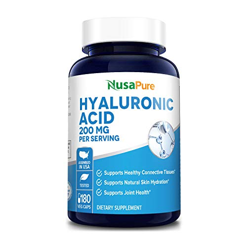 Hyaluronic Acid 200mg 180 Veggie Capsules (Non-GMO & Gluten Free) - Support Healthy Joints - Promote Healthy Skin - 200mg per Serving Extra Sodium 6mg