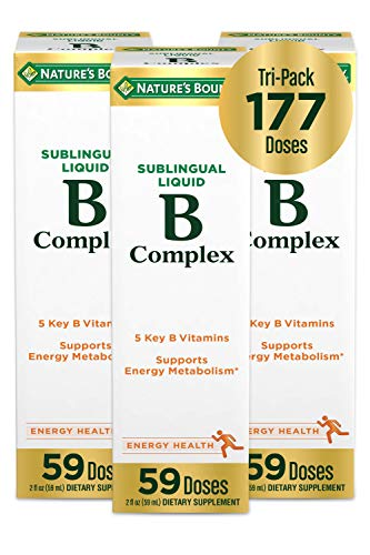 Nature's Bounty Vitamin B-Complex Sublingual Liquid, Aids Metabolism and Antioxidant Support, 2 Fl oz, 59 Doses, 3 Pack