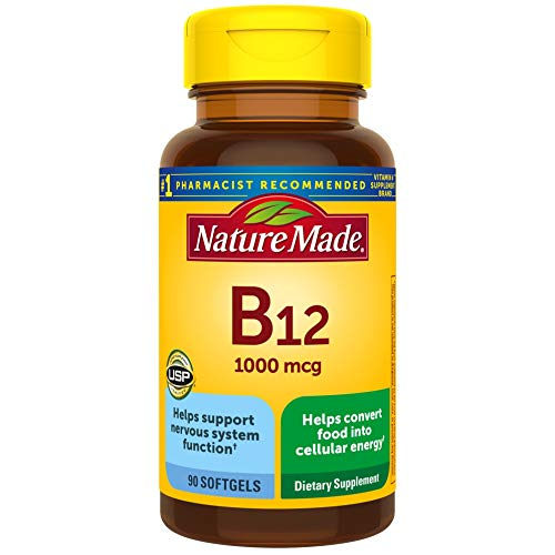 Nature Made Vitamin B12 1000 mcg Softgels, 90 Count for Metabolic Health† (Packaging May Vary)